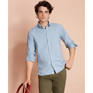 Checked Brushed Twill Sport Shirt