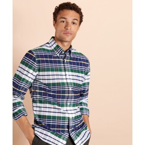 Multi-Plaid Cotton Oxford Shirt