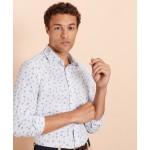 Micro-Stripe Floral-Print Poplin Shirt