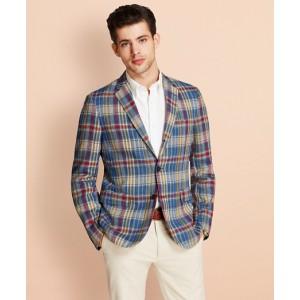 Plaid Three-Button Linen Twill Sport Coat