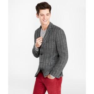 Three-Button Wool Herringbone Sport Coat