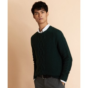 Textured Cable-Knit Crewneck Sweater