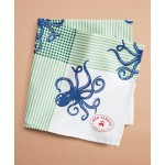 Octopus-Print Chambray Pocket Square