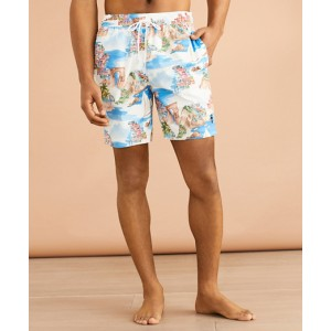 Coastal-Print 6 Swim Trunks