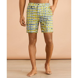 Plaid 7 Zip Swim Trunks