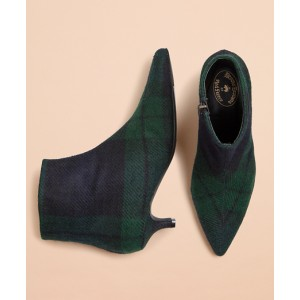 Black Watch Tartan Wool Kitten-Heel Ankle Boots