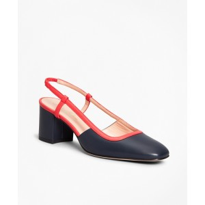 Two-Tone Leather Block-Heel Slingback Pumps