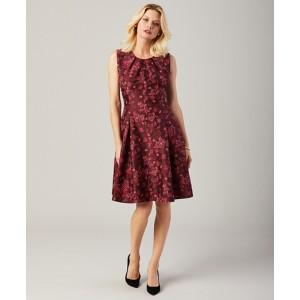 Floral Jacquard Pleated Dress