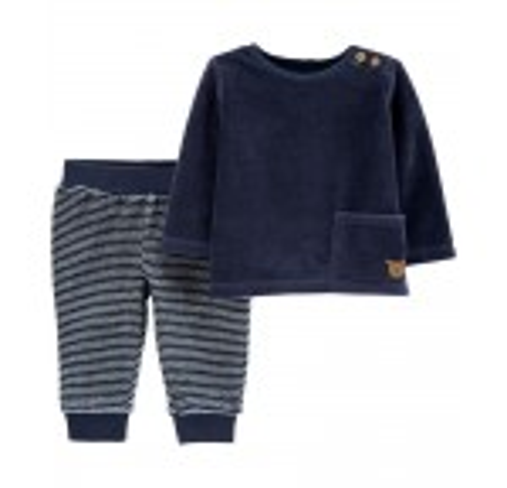 2-Piece Velour Top & Striped Pant Set