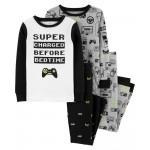 4-Piece Video Games Snug Fit Cotton PJs