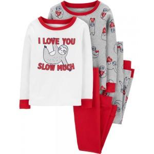 4-Piece Valentine's Day Sloth Snug Fit Cotton PJs