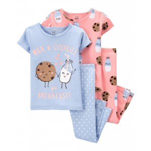 4-Piece Milk & Cookies 100% Snug Fit Cotton PJs