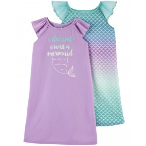 2-Pack Mermaid Nightgowns