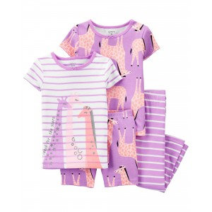 4-Piece Giraffe 100% Snug Fit Cotton PJs