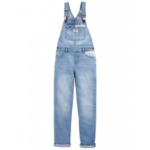 Crochet Trim Stretch Denim Overalls