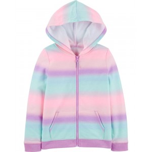 Rainbow Zip-Up French Terry Hoodie