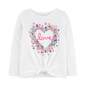 Floral Heart Tie-Front Jersey Tee