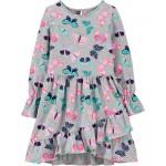 Butterfly Ruffle Jersey Dress