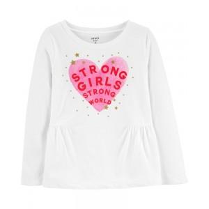 Glitter Strong Girls Strong World Peplum Top