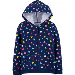 Heart Zip-Up French Terry Hoodie