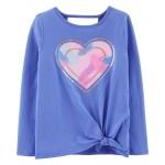 Rainbow Heart Tie-Front Jersey Tee