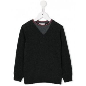 twin panel v-neck jumper