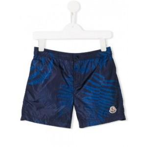 leaf patterned swim shorts