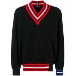 contrast V-neck jumper