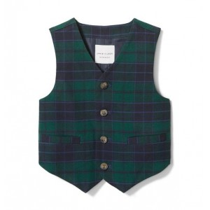 Plaid Wool Suit Vest