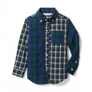 Colorblocked Plaid Shirt