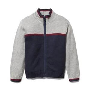 Colorblocked Zip Up Sweater