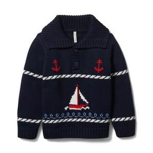 Sailboat Shawl Collar Pullover