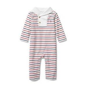 Baby Shawl Collar Striped 1-Piece