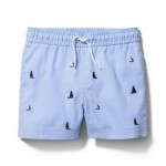 Embroidered Sailboat Swim Trunk