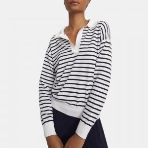 Striped Sweater Polo in Wool-Silk