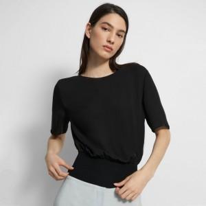 Short-Sleeve Ribbed-Waist Top in Silk