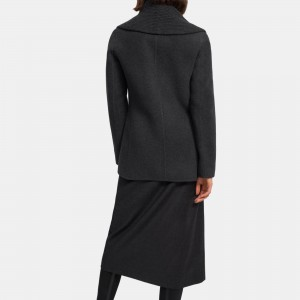 Shawl Peacoat in Wool-Cashmere