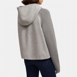Ribbed Bomber Jacket in Double-Face Wool-Cashmere