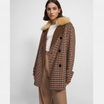 Utility Peacoat in Recycled Plaid Wool