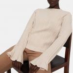 Linear Knit Top in Stretch Wool Blend