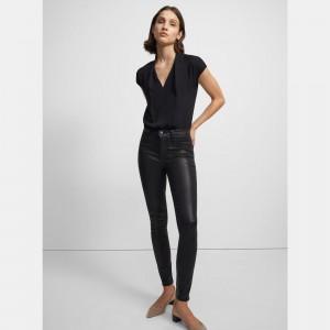 Draped Short-Sleeve Top in Silk