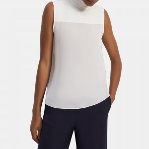Ribbed Yoke Shirt in Silk Combo