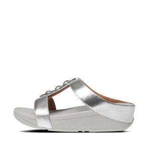 Womens Fino Faux-Leather Slides