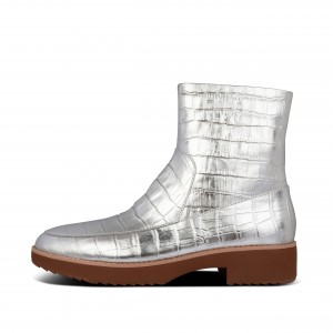 Croc-Embossed Metallic Leather Ankle Boots