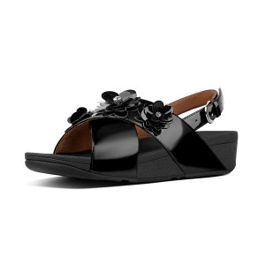 Womens LULU Faux-Leather Back-Strap-Sandals