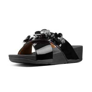 Womens LULU Faux-Leather Slides