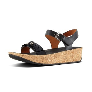 Womens RUFFLE Leather Back-Strap-Sandals