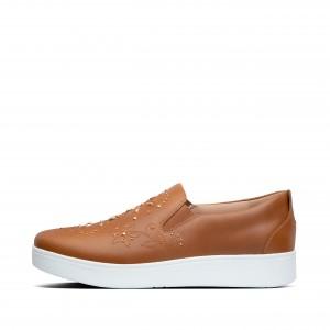 Skate Flower-Stud Leather Sneakers