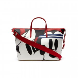 Womens Disney Holiday Collector Print Leather Zip Tote