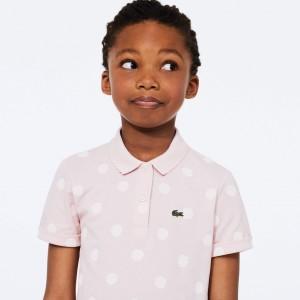 Girls' Polka Dot Scalloped Collar Cotton Petit Pique Polo